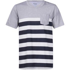 Bergans Lyngør T-shirt Homme, white/navy striped/grey melange